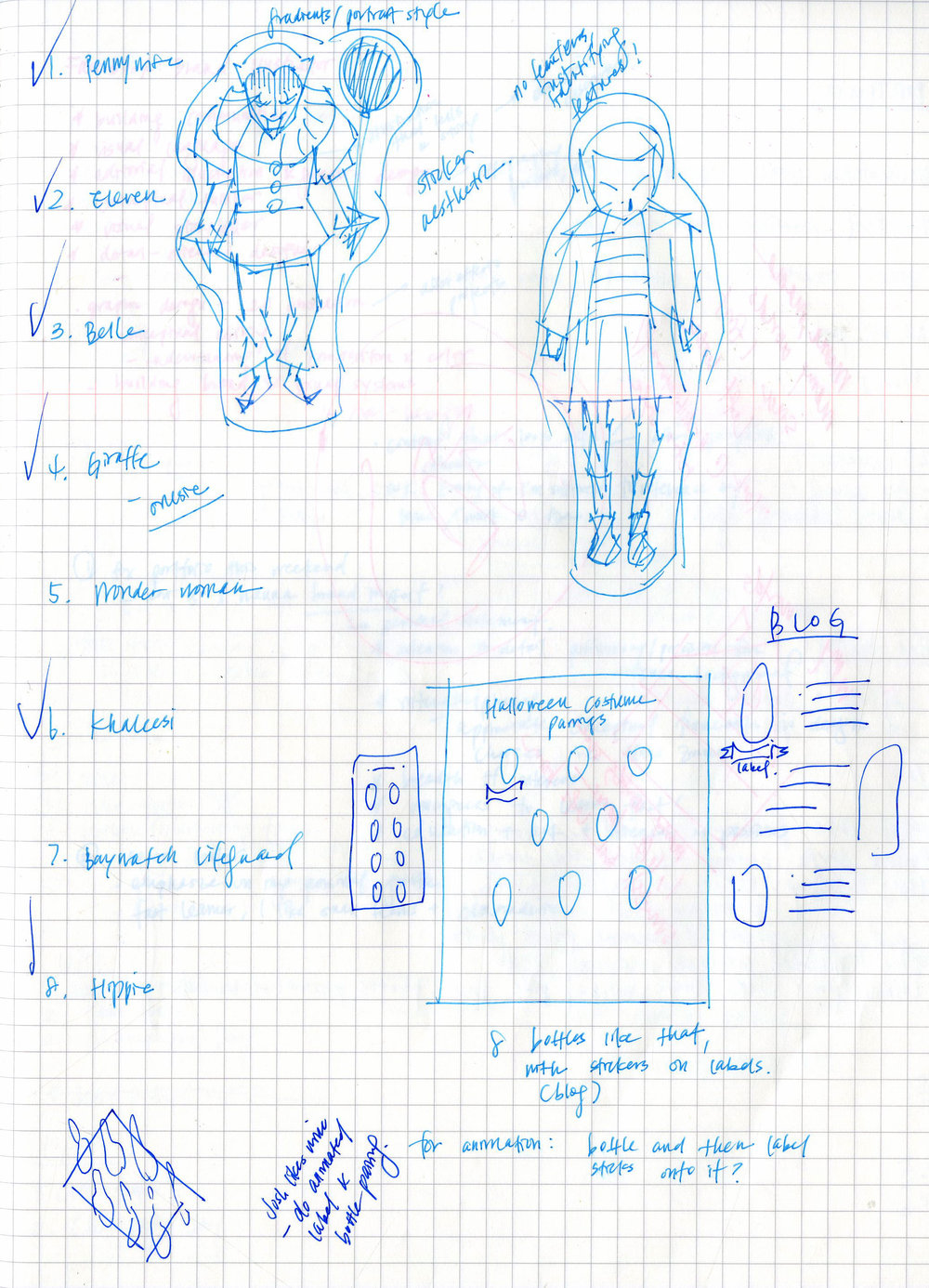 - FIGURE 1.← Initial sketches of Pennywise and Eleven. For the sake of time, the rest of the characters were directly drawn on Illustrator without preliminary drawings.