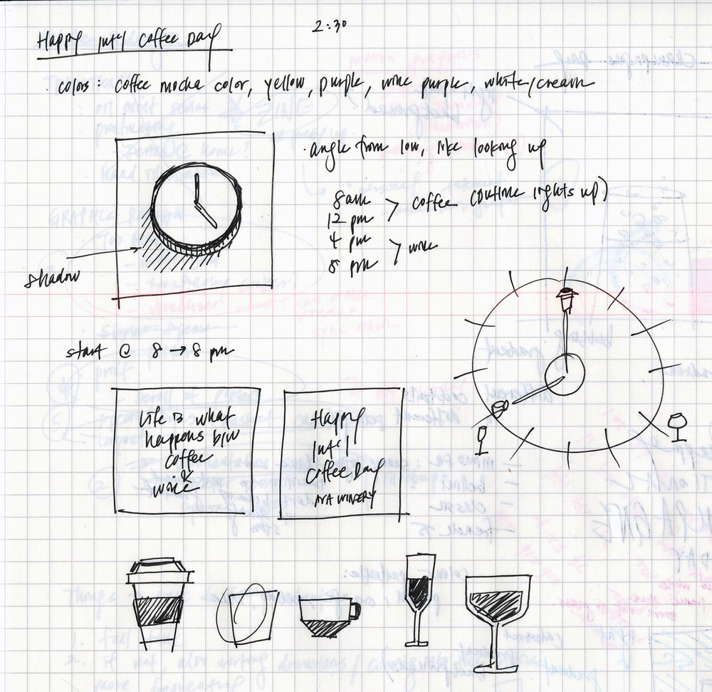 - FIGURE 1.← Preliminary sketches for the International Coffee Day graphic. I wanted to instill the spirit of routine and waiting through repetition in motion, which was carried by the clock hands and beverage icons over the course of a fictional twelve hours. For the record, it's never too early for wine.