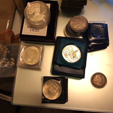 Silver and gold coins