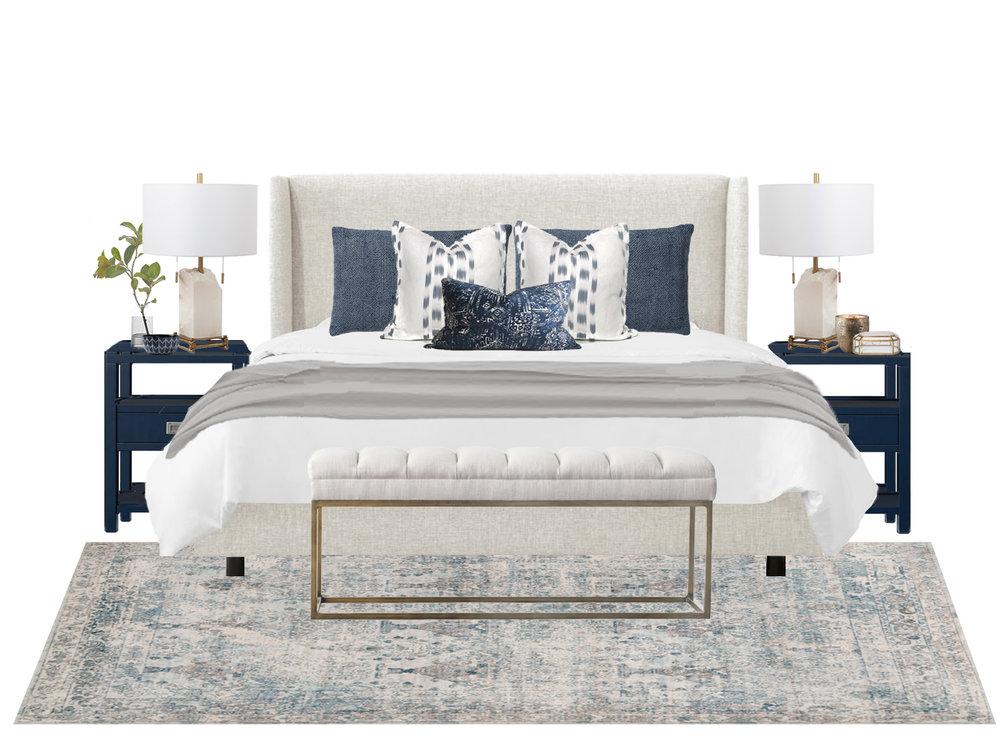 bed / nightstand / lighting / bench / rug / pillow / pillow / pillow