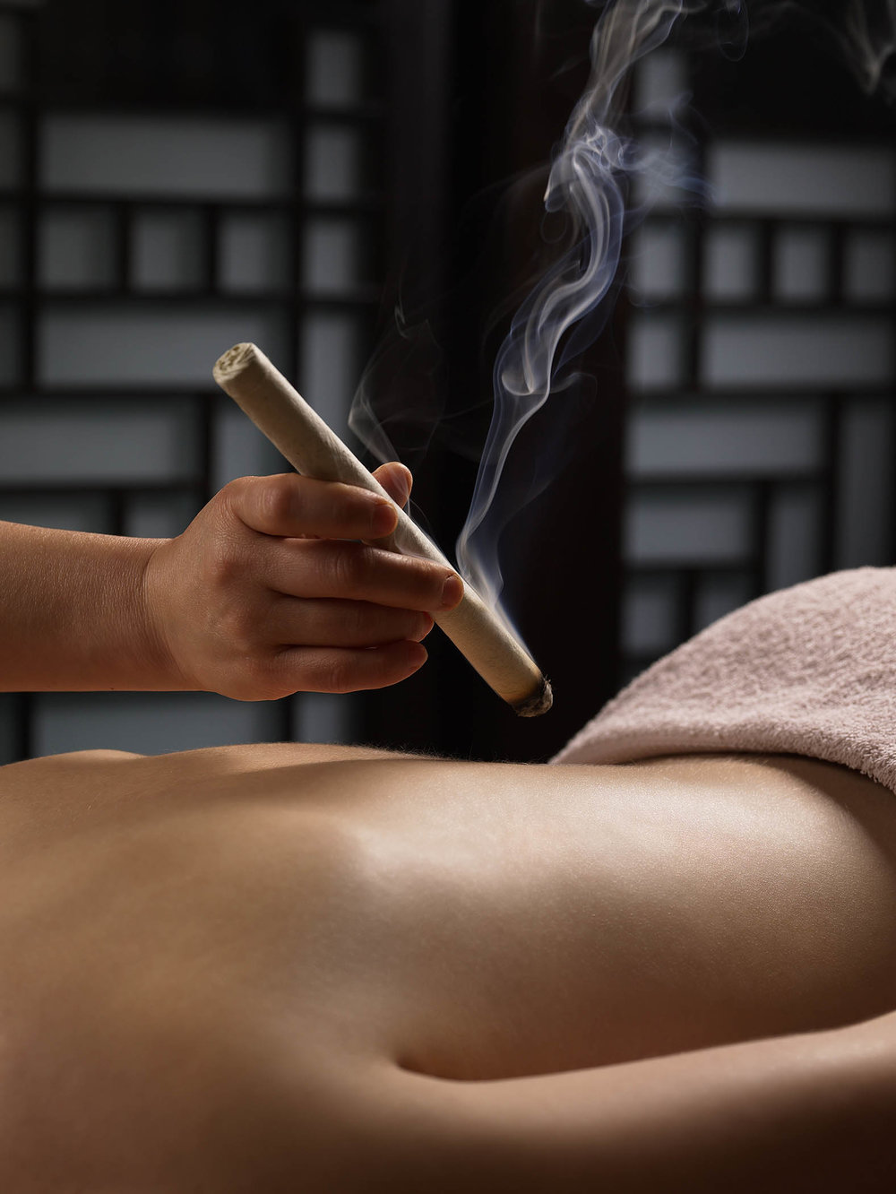 Moxibustion (Moxa) - No, it's not a torture thing. The softly rolled stick of mugwort is burned to provide a steady and consistent heat towards a localized area, promoting circulation and relieving tension. This therapy can be done by itself, or together with acupuncture for increased effectiveness.