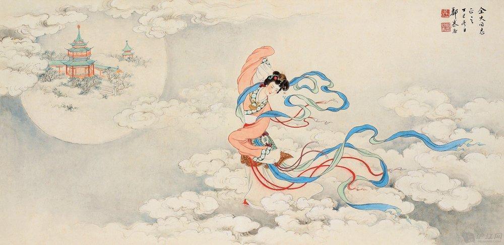 Chang'e floating towards the moon.  Source:  Hujiang .
