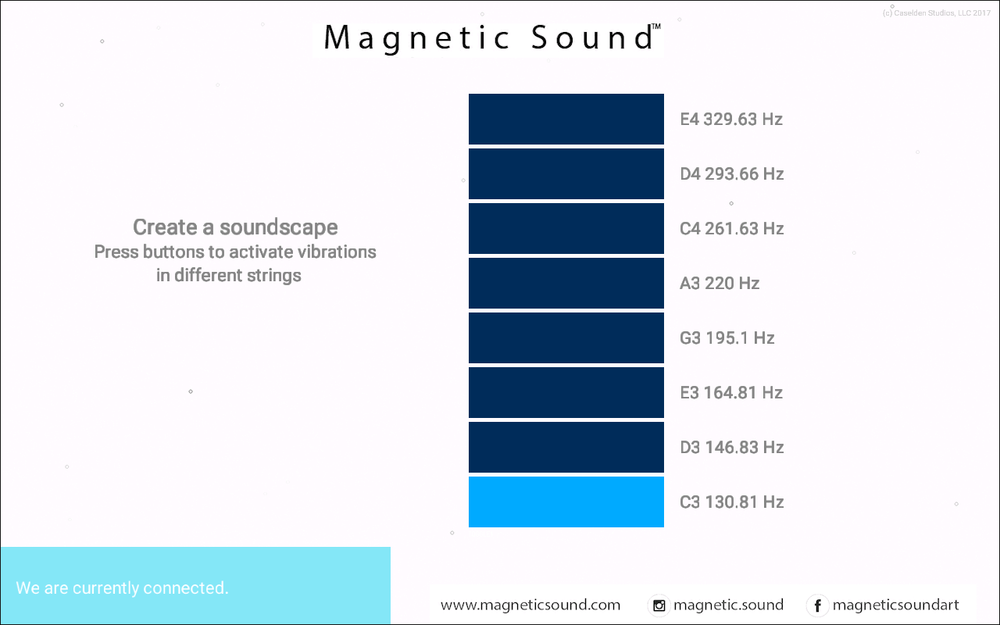 Step 1:  Open the Magnetic Sound™ Soundscapes app, and activate the string you wish to tune.