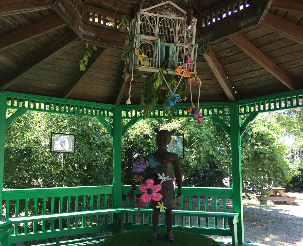 Similar to this exhibition, we can integrate our designs into a sheltered gazebo or other park structure.
