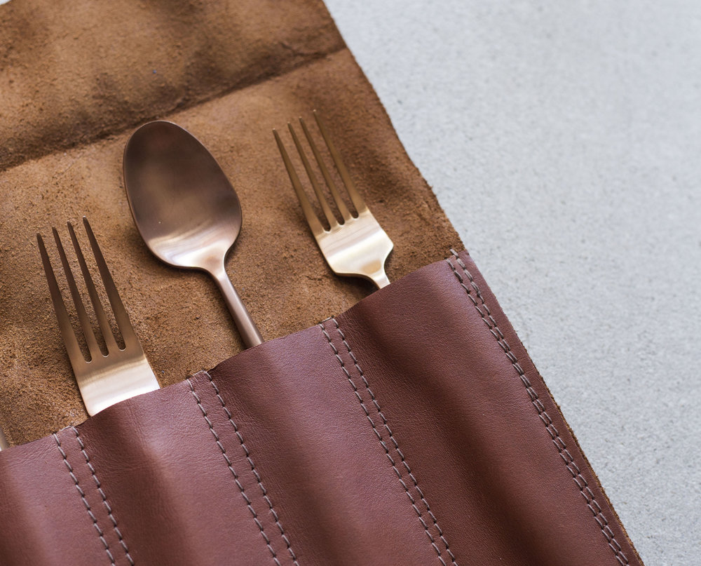 Keep them safe. - STORE THEM HANDMADE LEATHER CUTLERY ROLLS