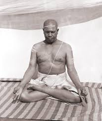 Pattabhi Jois  in lotus- a pose inaccessible for many yet essential in Astanga sequence