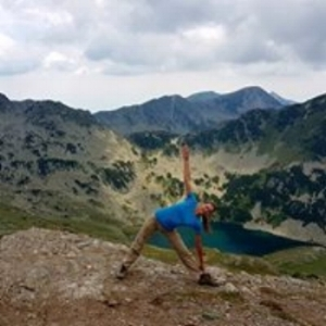 Posing at the magnificent Pirin mountains in Bulgaria