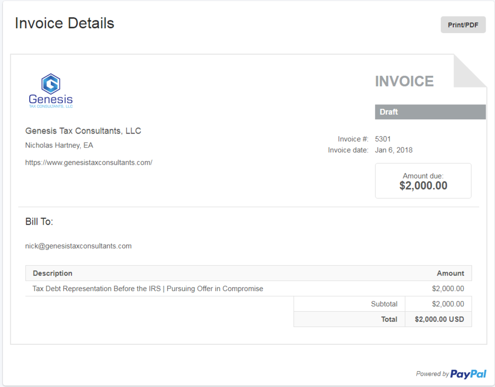 Secure invoicing through paypal or Bitpay -