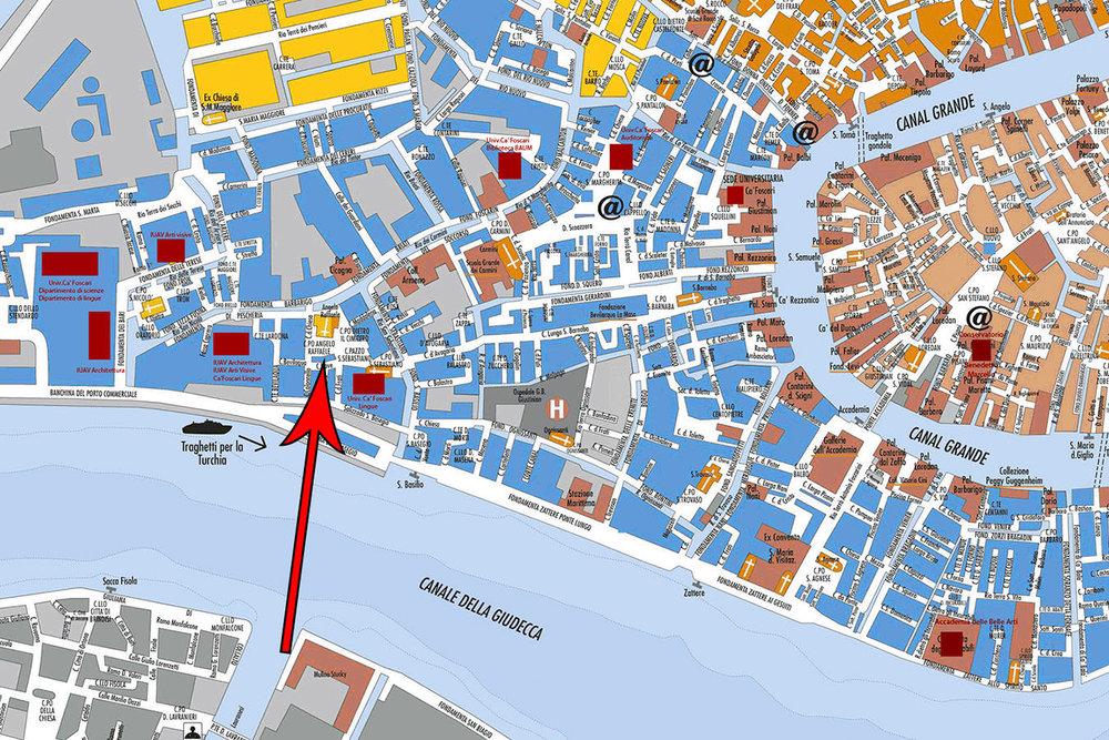 Map of restaurant Pane Vino e San Daniele, Dorsoduro