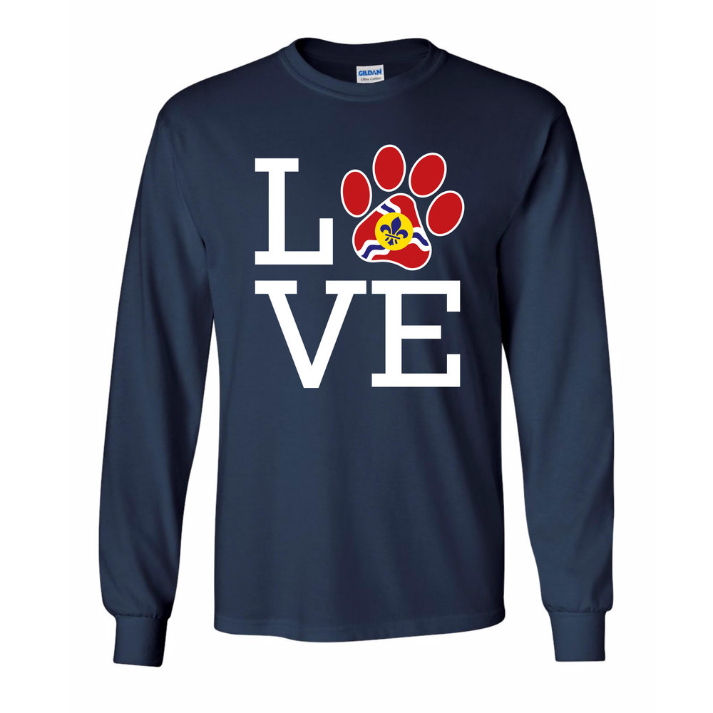 "- Long Sleeve Navy ""STL Love""$25.00- Super Soft combed and ringspun cotton or cotton/polyester depending on color- Side seams, retail fit- Shoulder to shoulder taping- Unisex sizing"