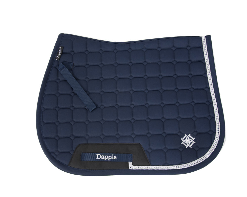 Dapple Navy Diamante Saddle Pad with Silver Piping white background.jpg