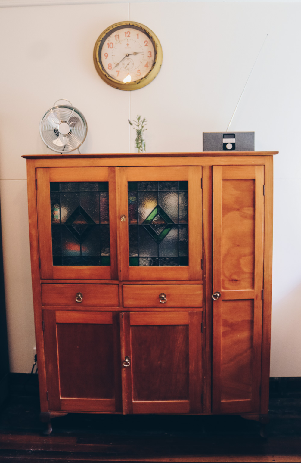 Another eBay score is this old kitchen hutch which i bought for $275 for some extra free standing storage. Surprisingly, it holds more than you would think.