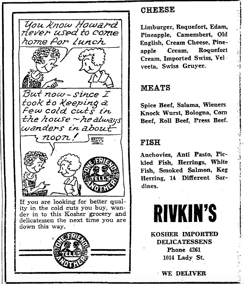 Rivkin's ad 1929