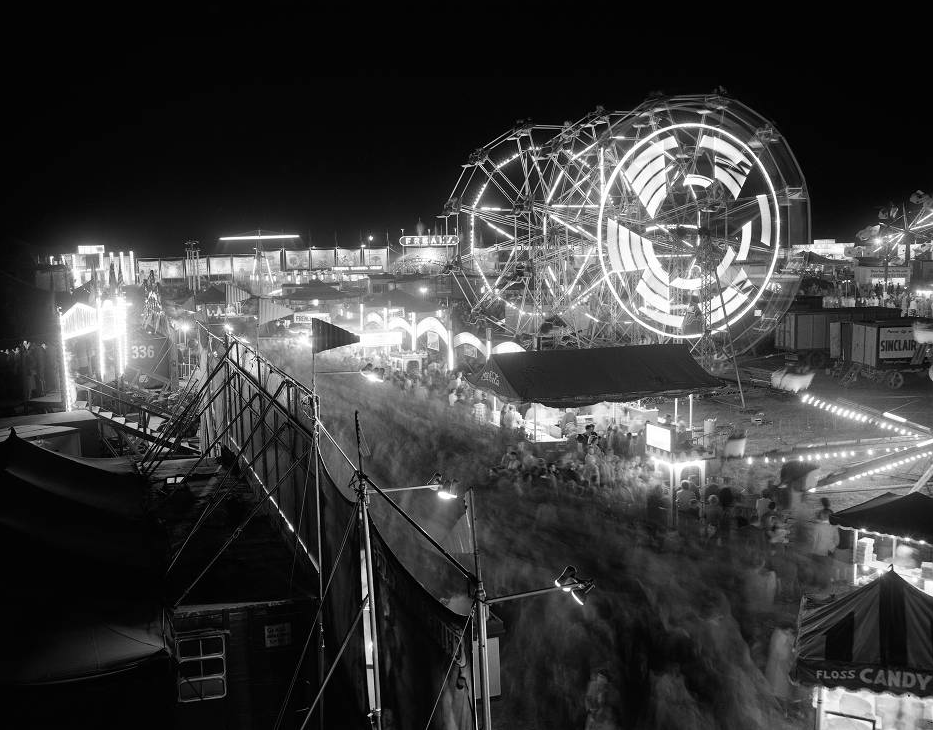 State Fair at night, midway, October 17, 1955