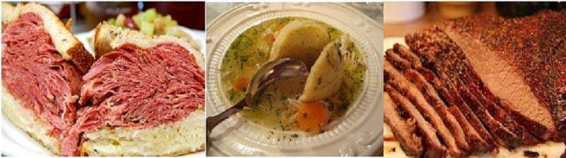 Three Bubbie's classics: corned beef, matzo ball soup, and brisket.  Image courtesy Randy Stark