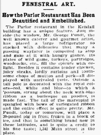"Description of the ""Fenestral Art"" displayed in and around the Parlor Restaurant's storefront. Reprinted from  The State , January 26, 1897."