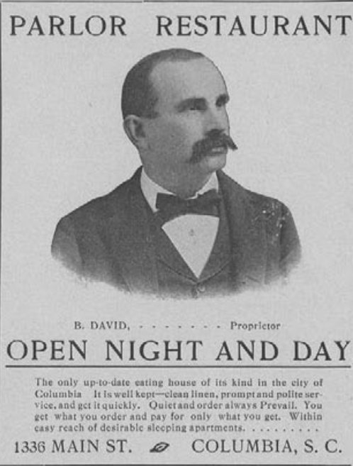 Advertisements for the Parlor Restaurant frequently used Ben David's likeness. Reprinted from the University of South Carolina's 1902  Garnet and Black  yearbook.