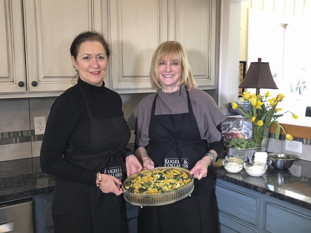 Rachel Barnett and Lyssa Harvey with the savory Collard Kugel