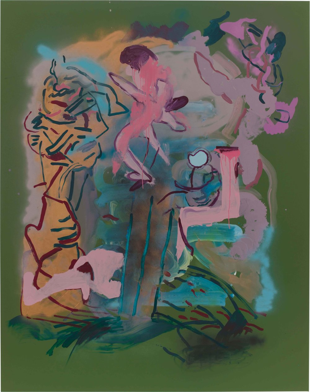 Drew Beattie and Ben Shepard  Boys in Trees  2015 acrylic and spray paint on canvas 96 x 76 inches