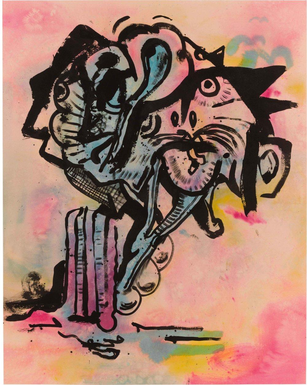 Drew Beattie  Dmitri Martin  2014 acrylic on canvas 96 x 76 inches