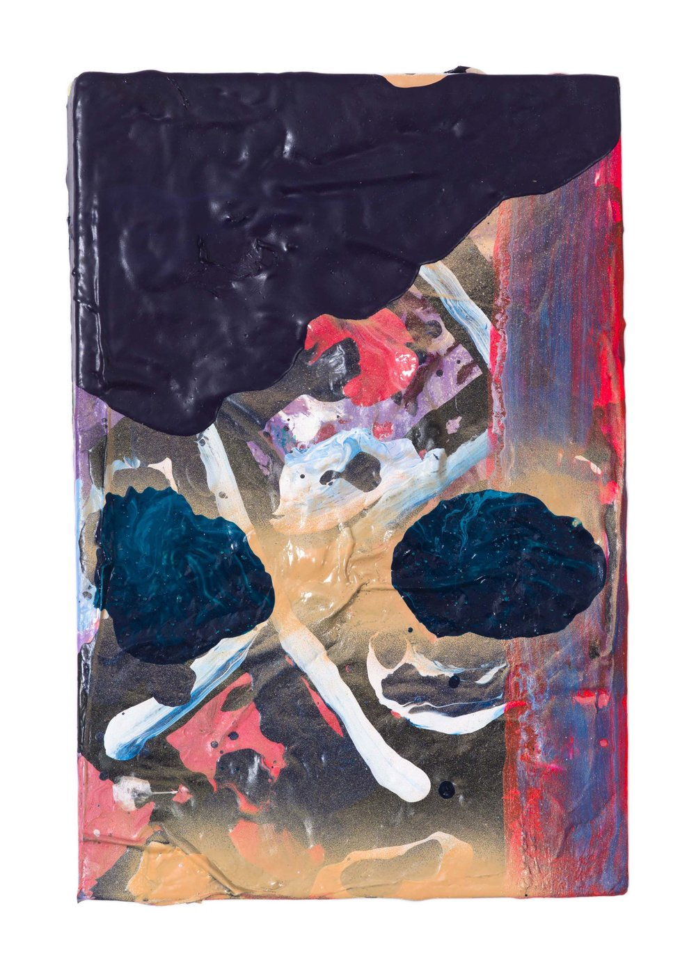 Drew Beattie and Ben Shepard  Poverty and Progress   acrylic and collage on used book 2016 8 ¼ x 5 ½ inches