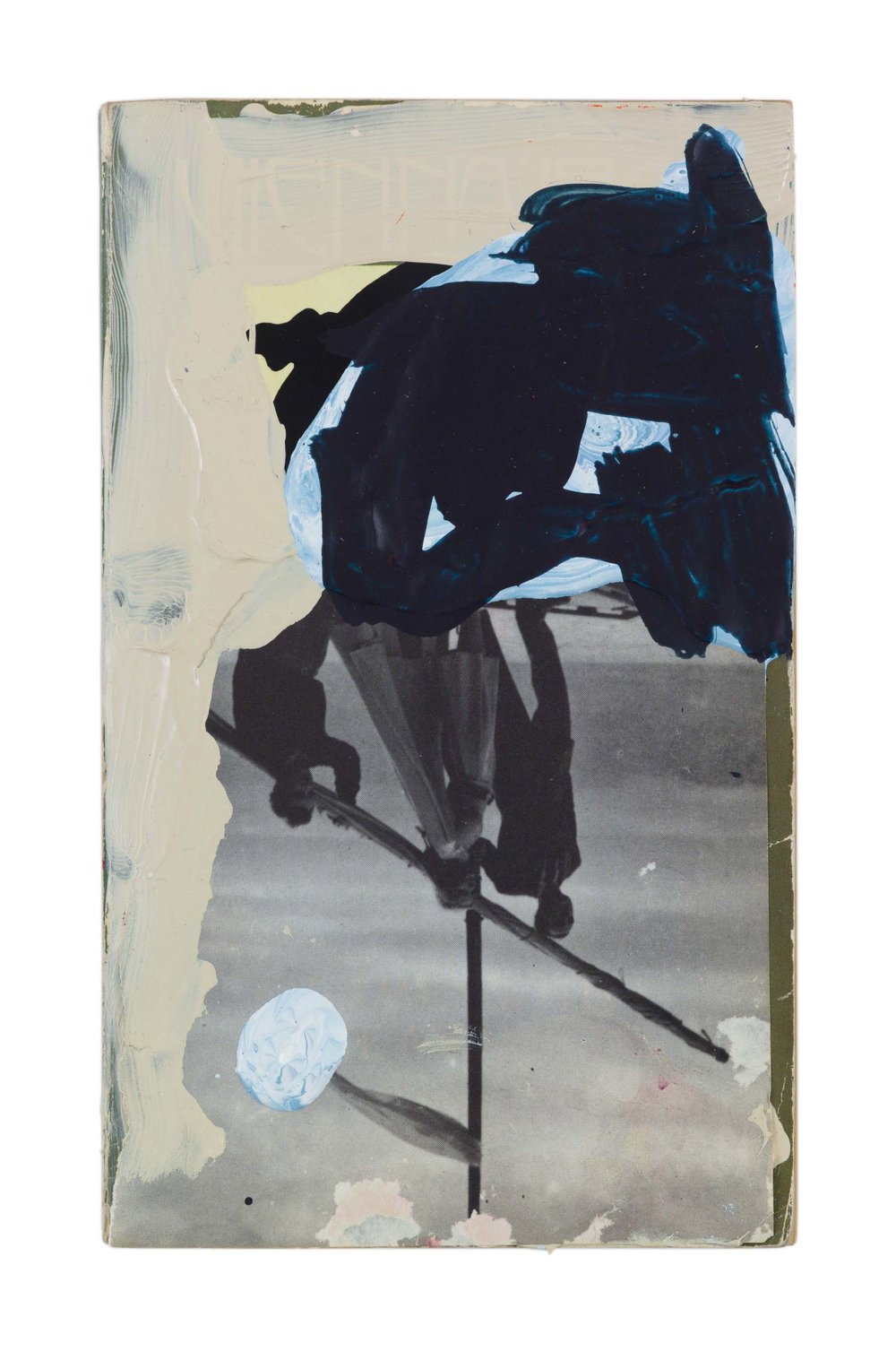 Drew Beattie and Ben Shepard  Vienna 1900 - Games with Love and Death  acrylic and collage on used book 2016 7 ⅛ x 4 ⅜ inches