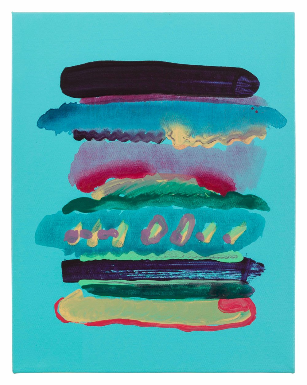 Drew Beattie and Ben Shepard  Small Sandwich on Warm Blue  2015 acrylic and spray paint on canvas 14 x 11 inches