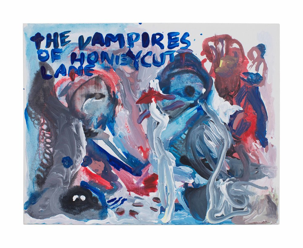Drew Beattie and Ben Shepard  The Vampires of Honeycutt Lane  2014 acrylic on canvas 11 x 14 inches