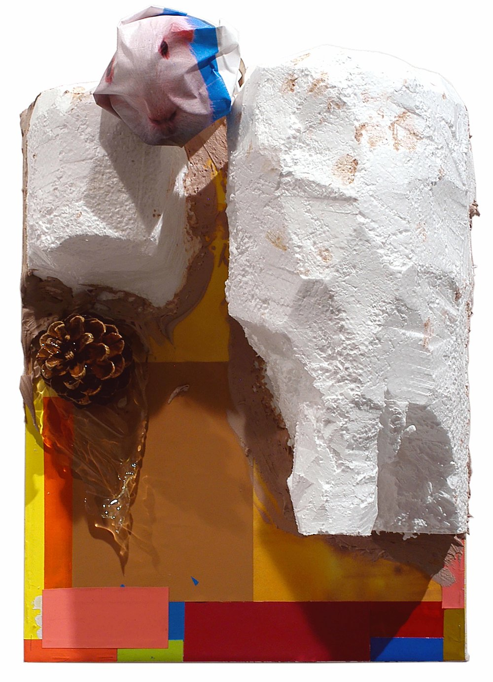 Drew Beattie  Hole in My Island   2005 acrylic, collage on light bulb, styrofoam, bondo, pine cone, resin and colored paper on canvas 14½ x 11¼ inches