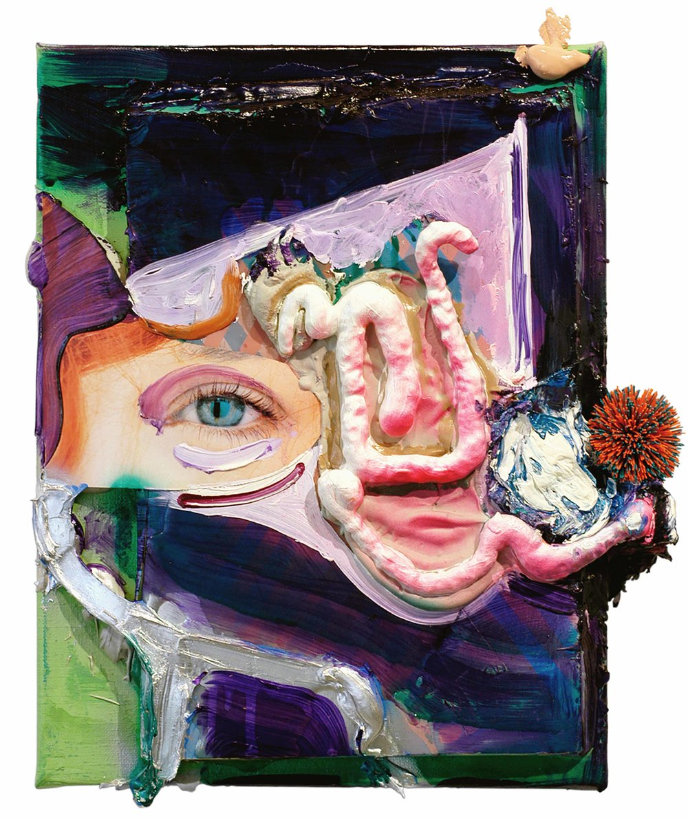 Drew Beattie  Sad Man Wants to Talk   2005 oil, acrylic, spray paint, rubber, insulating foam, bondo, collage, and foam core on canvas 14½ x 11½ inches