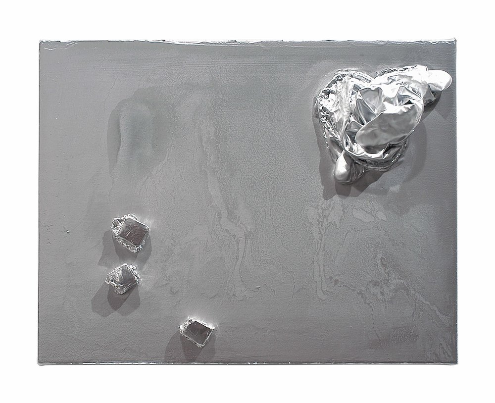 Drew Beattie  Shiny Bits   2005 enamel, acrylic, foil, foam core and rubber on canvas  14 x 11 inches