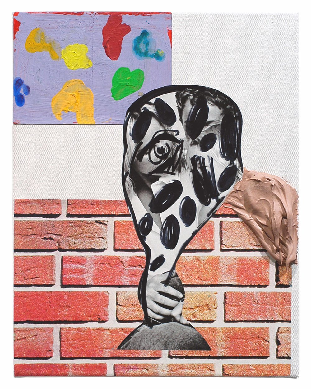 Drew Beattie  Problem About a Child   2005 acrylic, permanent marker, collage, paper and bondo on canvas  11 x 14 inches