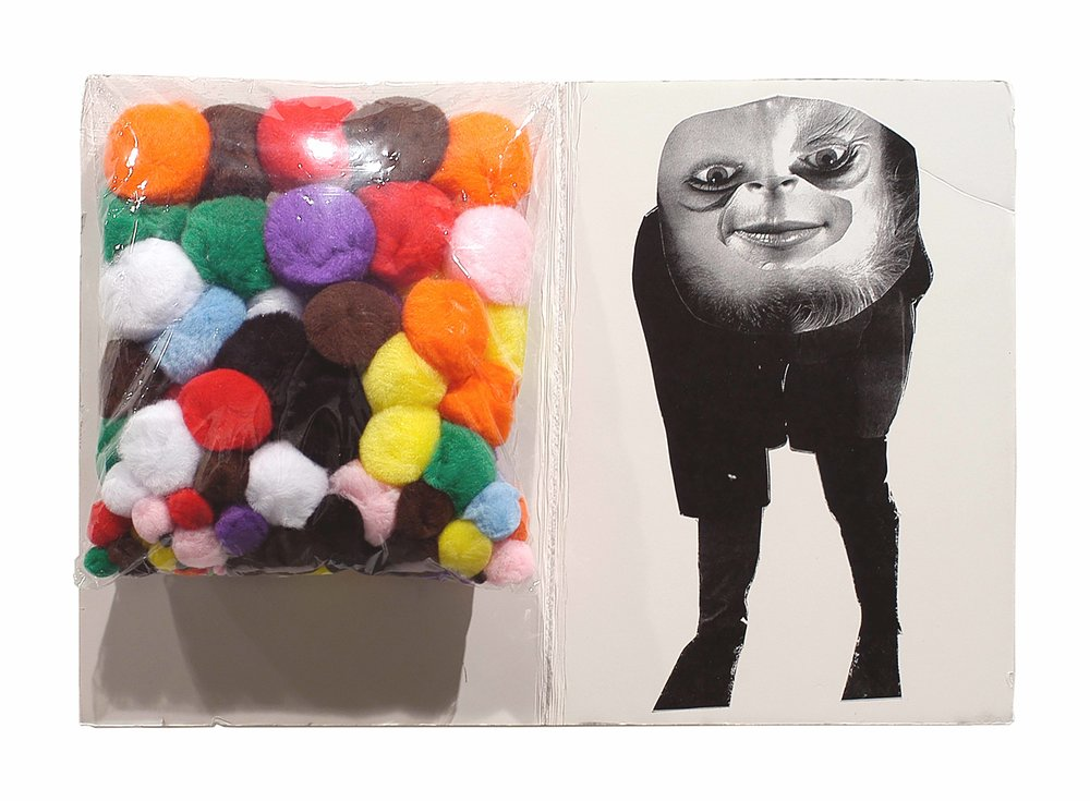 Drew Beattie  Spots   2005 plastic, puff balls and collage on foam core on canvas  12½ x 17¾ inches