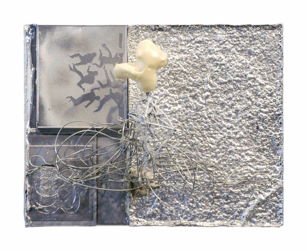 Drew Beattie  Silver Death  2006 CD case, tape, styrofoam, polaroid, spray paint, wire, bondo, toothpicks, hot glue and industrial foam on canvas  11 x 14 inches