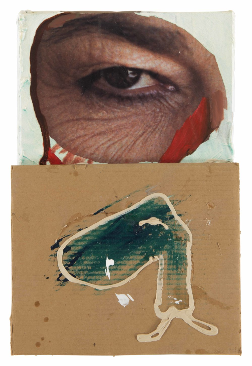 Drew Beattie  Sergeant Sergeant   2010 acrylic, liquid nails, collage and cardboard on canvas 17½ x 11¾ inches