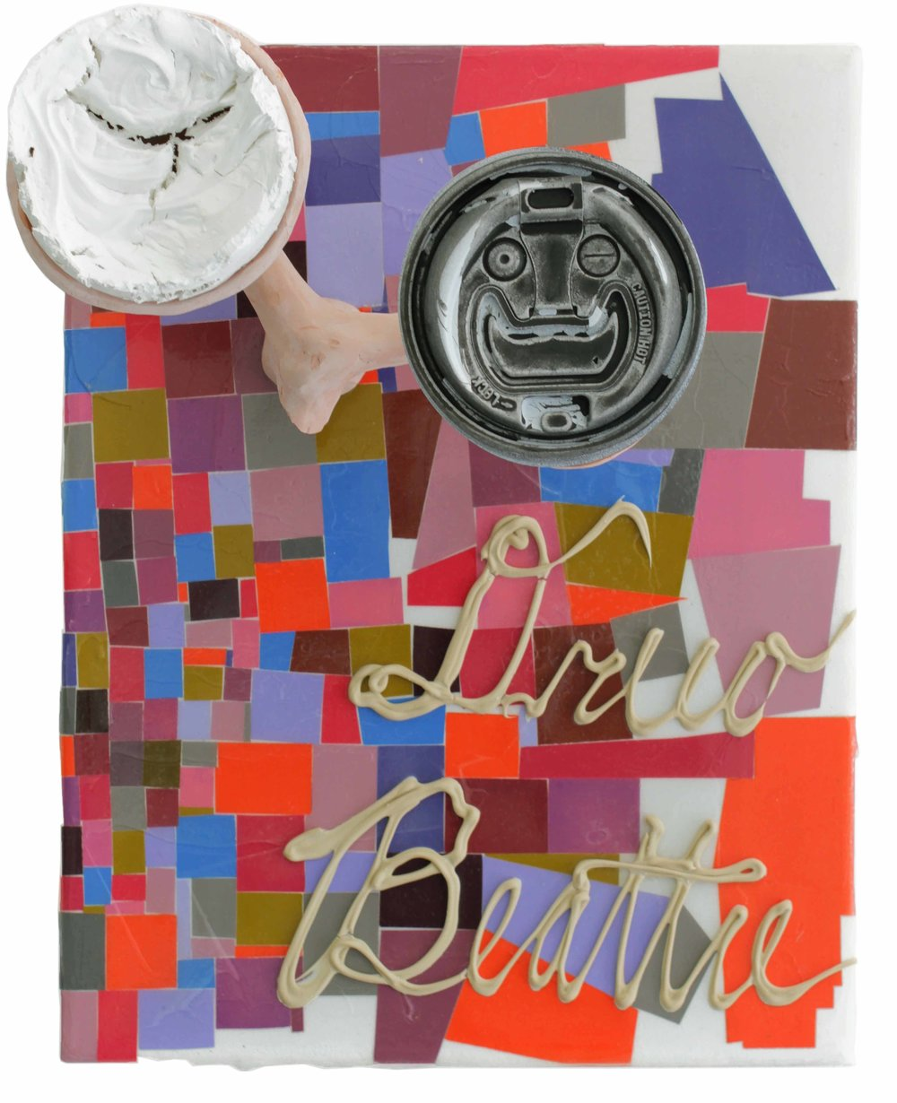 Drew Beattie  Dreetle   2012 acrylic, coffee lid, ceramic, epoxy, Liquid Nails, and cut papers on canvas 14 x 11 inches