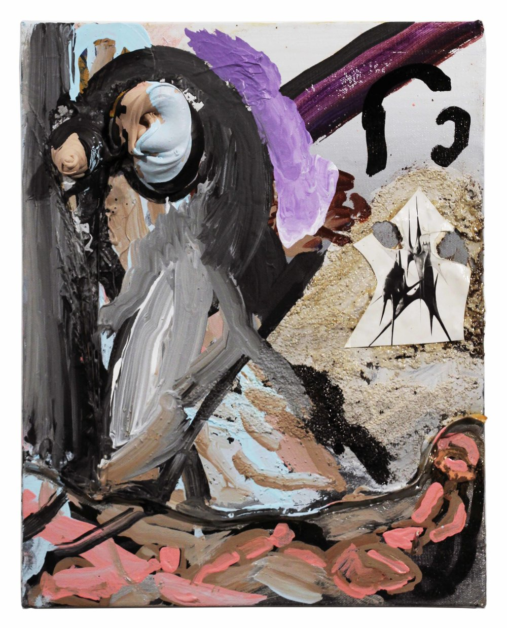 Drew Beattie  St. George and the Dragon   2013 acrylic, sand, bondo, permanent marker and collage on canvas 14 x 11 inches