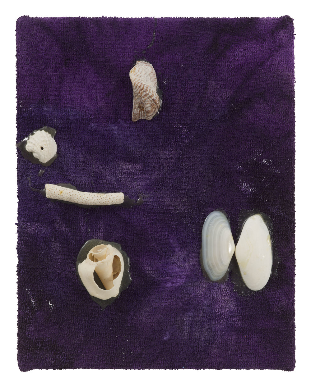 Drew Beattie  Shells on Purple   2017 acrylic, shells and epoxy on wash cloth 14 x 11 inches
