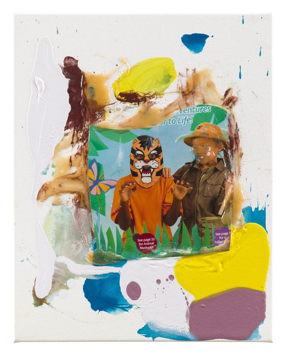 Drew Beattie  Girl with Tiger    2018 acrylic, resin and collage on canvas 14 x 11 inches