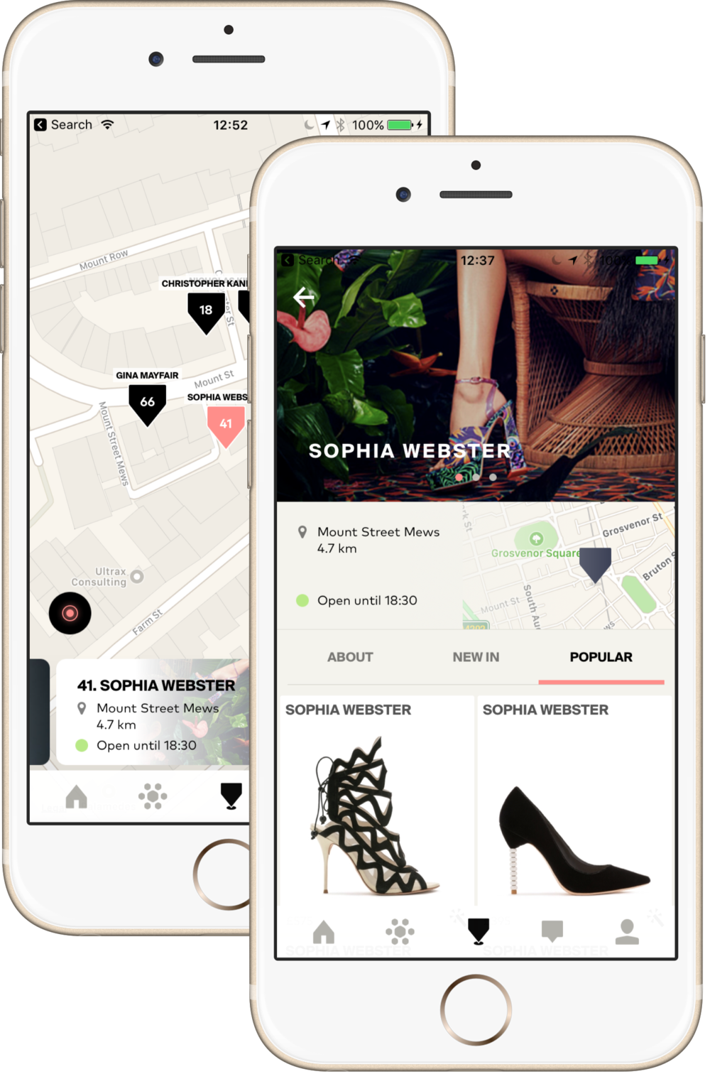 London shopping app, Sophia Webster on KNOMI
