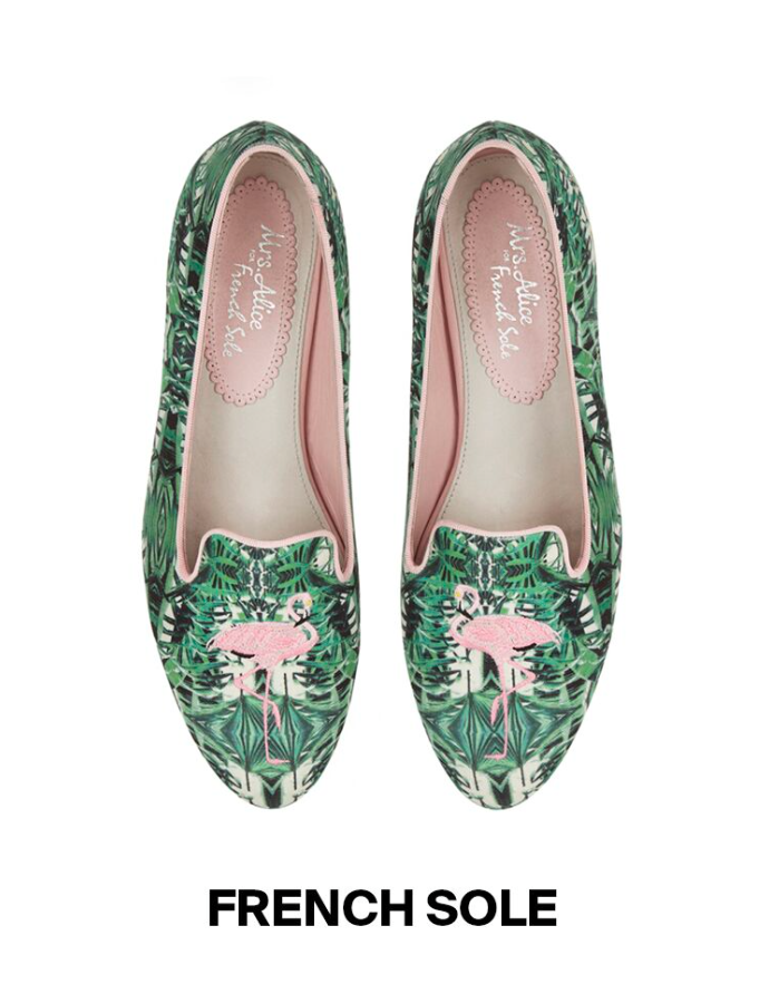 French sole flamingo tropical print ballet flats KNOMI