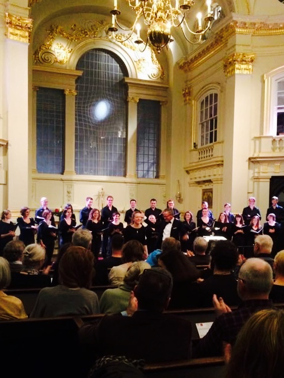 Libby taking a bow at St Martin's in the Field's after her choral composition was performed by the New London Singers with conductor, Ivor Setterfield.