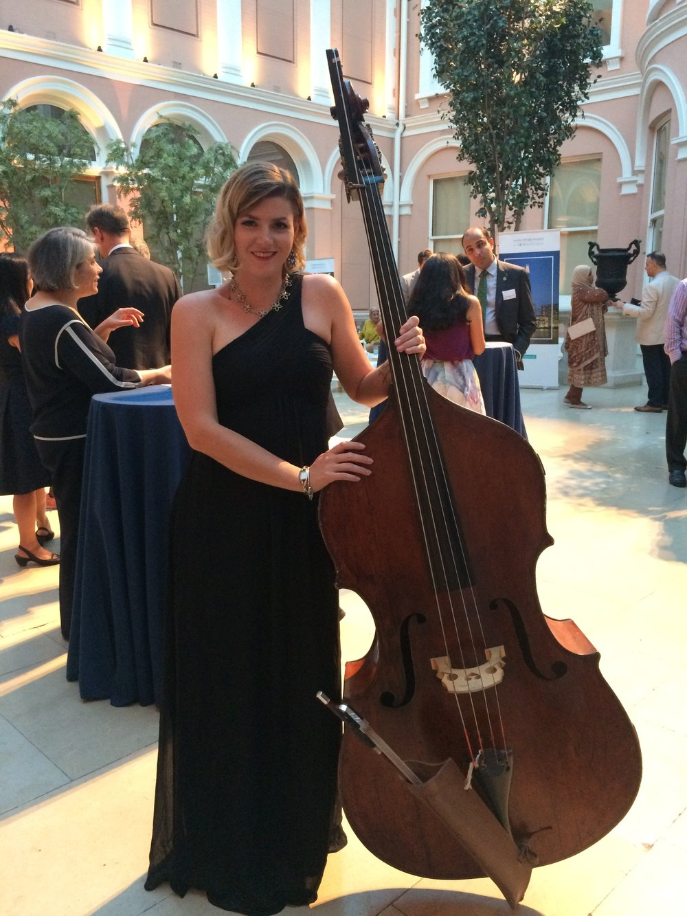 Frances, looking gorgeous with her bass in the courtyard at The Wallace Collection