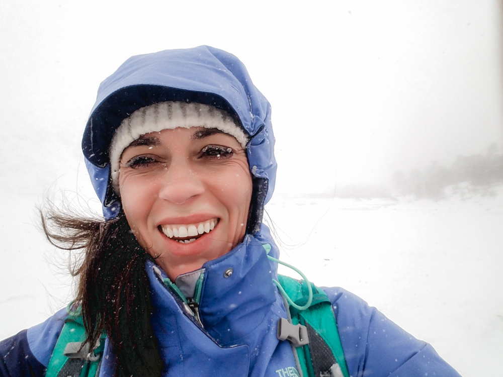 Snapped a photo of myself illustrating the reprocussions of not having goggles. Chapped face and icicle eyelashes!