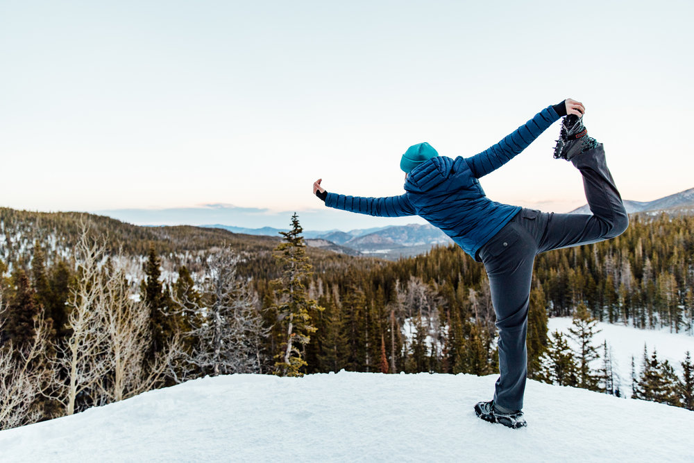 Just a little yoga on the cliff. These are the times that I'm happy I'm the photographer, two feet on the side of the mountain.