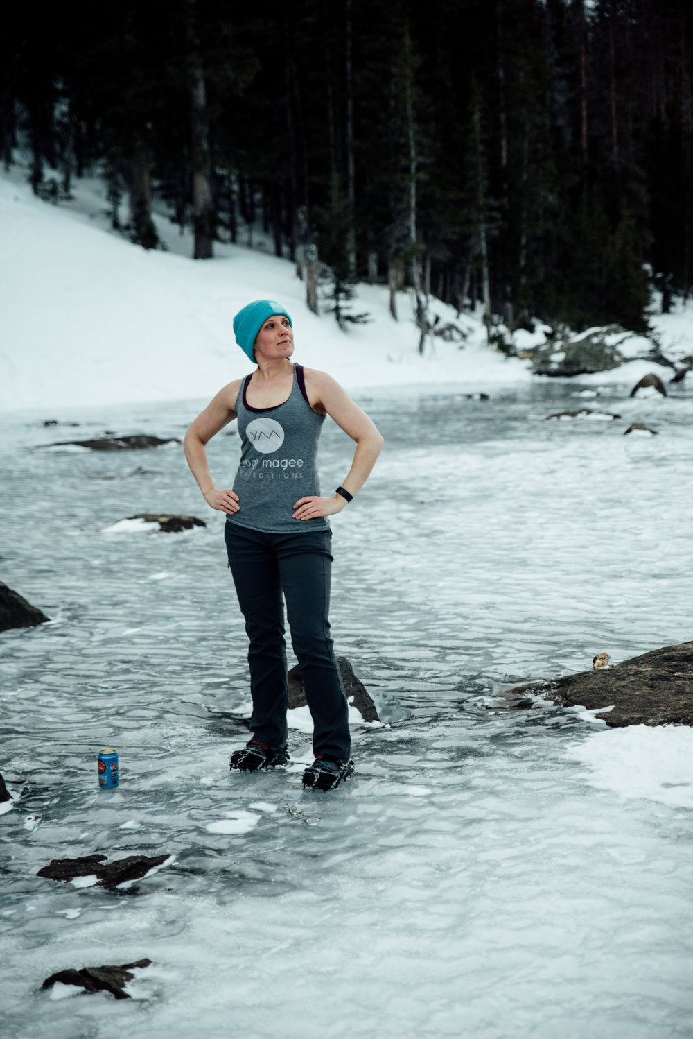 As a thank you to Natalie, Rachael rocking the Yogi Magee gear on a frozen Dream Lake.