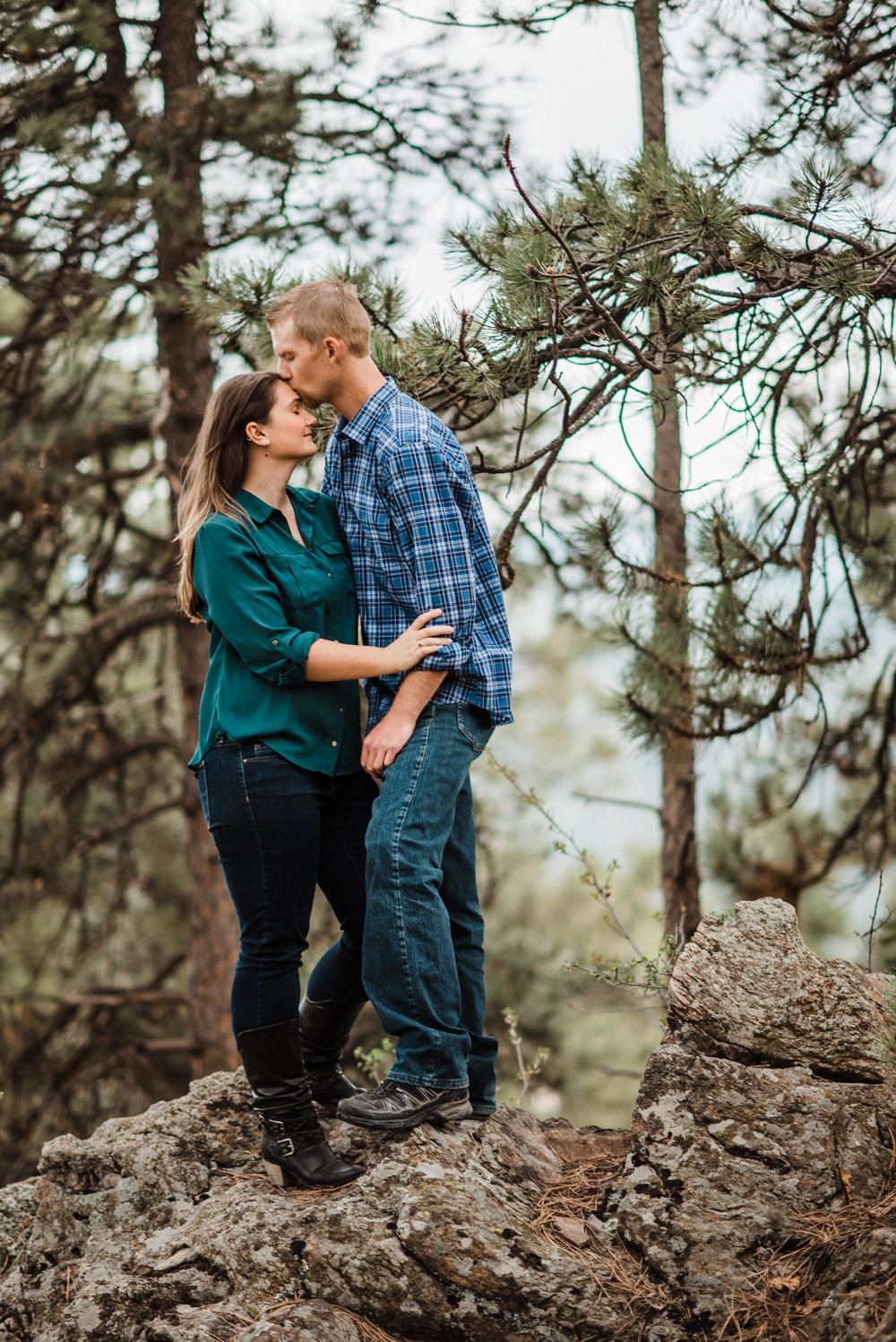 Engagement photos up at Mount Falcon in the Colorado Mountains.