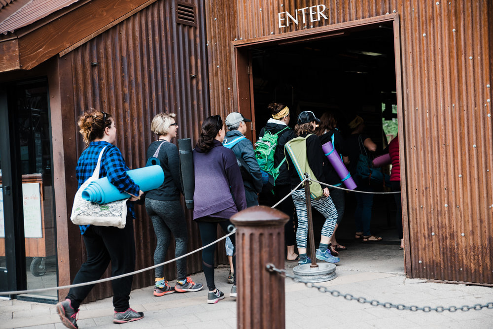Ladies of the retreat getting in line for the gondola.