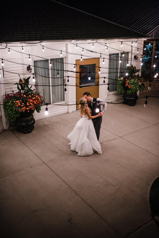 Colorado mountain wedding photographer at Brookeside Gardens wedding reception bride and groom last dance