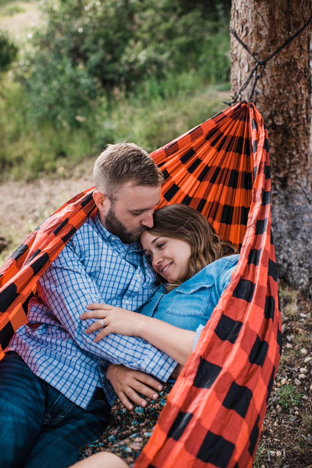 Indian Peaks-Brainard Lake-Colorado Engagement snuggle in hammock